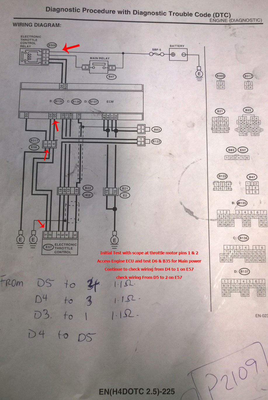 Subaru Forester Electronic Throttle faults p2109   P   G Motors