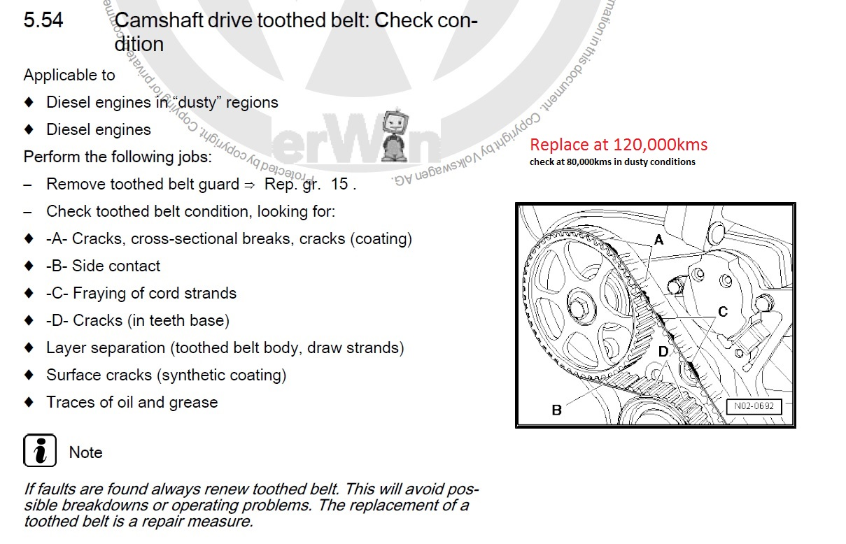 Amarok service schedule toothed belt condition check